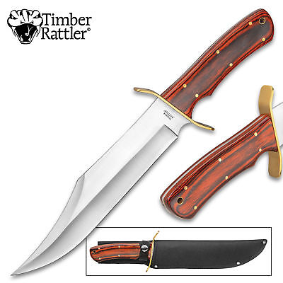 "16"" Timber Wood Hunting Skinning Survival Fixed Blade Full Tang Knife Bowie"