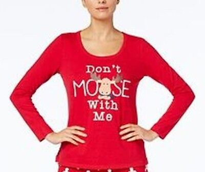 Family Pajamas Womens Don't Moose With Me Pajama TOP ONLY Red Small