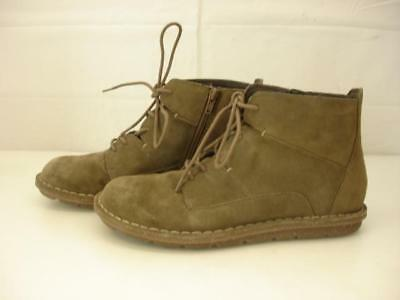 clarks collection boots womens 8.5 M brown tan suede leather lace-up & zip ankle
