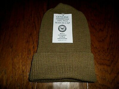New Genuine Military Issue 100% Wool Brown Watch Cap Cold Weather Hat U.s.a Made