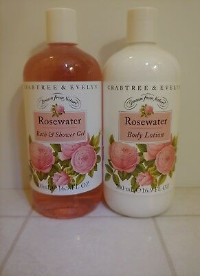 Crabtree & Evelyn ROSEWATER Shower Gel and Body Lotion Set 16.9 Oz.