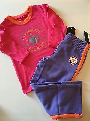 CONVERSE All Star Girls Long Sleeve Top & Joggers Set Pink / Purple 3-4 Years