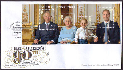 2016 HM The Queen's 90th Birthday stamp miniature sheet First Day Cover MS3832
