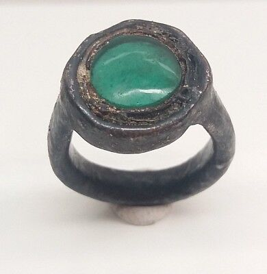 antique roman silver ring 'green stone'
