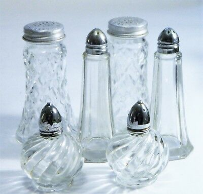 Salt/Pepper Shakers/Clear Glass/Silver Metal Screw Cap/Cottage/BoHo Chic/ 3 Sets