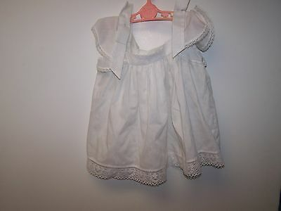 Vintage Baby Girl Short Sleeve White Lace Bottom Dress 24M (For Large Doll)