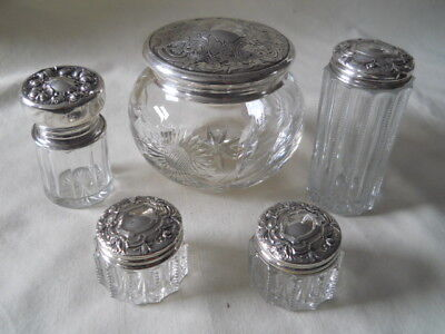 Five Crystal Sterling Topped Vanity Dresser Jars