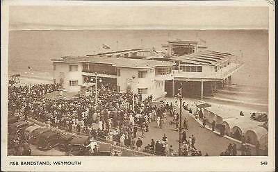 Weymouth, Dorset - Pier Bandstand, crowd, old cars -Sunny South postcard c.1950s