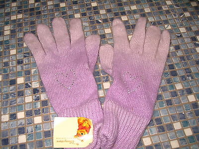 Disney Store Lilac Shaded Ladies Gloves Silver Heart Diamante Brand New Rare