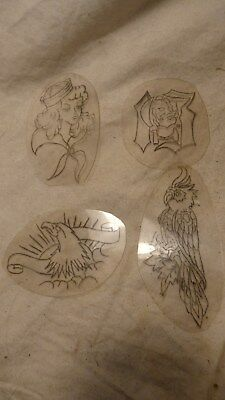 Four 1980's Used Acetate & Charcoal Tattoo Stencils-Spaulding & Rogers Designs