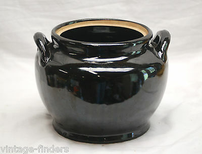 Old Vintage Stoneware Pottery Double Handled Bean Pot w No Lid Dark Brown USA
