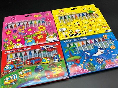 12pcs Kids Jumbo Crayons Craft Assorted Colours Chritsmas Party Favor Gift