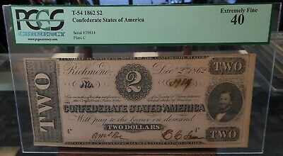 T54 1862 $2 Confederate States of America CSA Plate C SN 39814 PCGS XF40