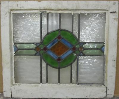 "OLD ENGLISH LEADED STAINED GLASS WINDOW Colorful Geometric Design 20.5"" x 17.5"""