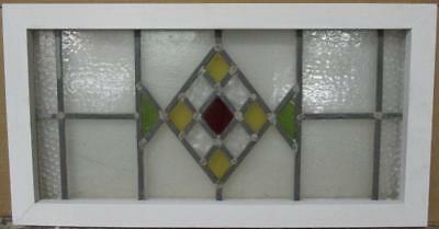 """MID SIZED OLD ENGLISH LEADED STAINED GLASS WINDOW Diamond Design 27"""" x 14.25"""""""