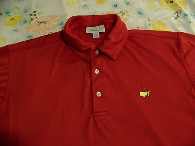 THE MASTERS PERFORMANCE Polyester Golf Polo Shirt AUGUSTA NATIONAL Logo Sz L Red