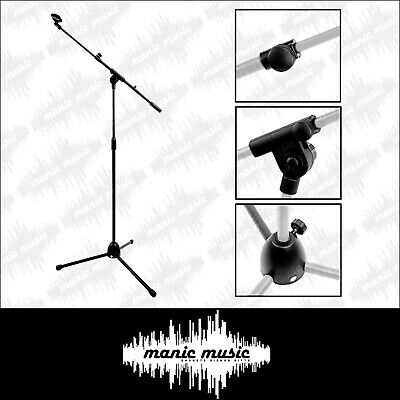 Double Microphone Telescopic Boom Mic Stand Adjustable Holder Tripod + Two Clip