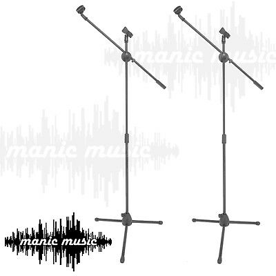 2x Double Microphone Telescopic Boom Mic Stand Adjustable Tripod +Two Clip