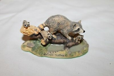 1993 Schmid Lowell Davis First Outing Raccoon w/Babies Signed
