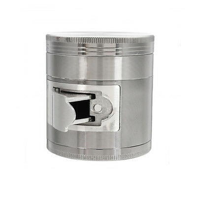 Silver Multi Functional 63mm 4 Layers Zinc Alloy Metal Herb Grinder Crusher tall