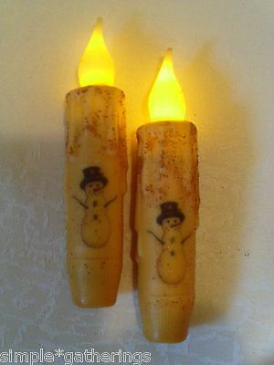 "SNOWMAN TIMER Taper Candles with Black Hat 4 5/8"" Grungy CREAM 2 pcs Primitive"