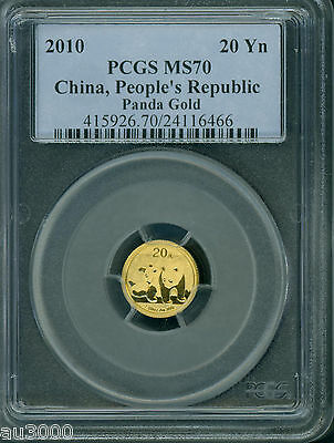 2010 Chinese PANDA 1/20 Oz. GOLD COIN 20Y CHINA PCGS MS70 MS-70 20 Yuan Yn