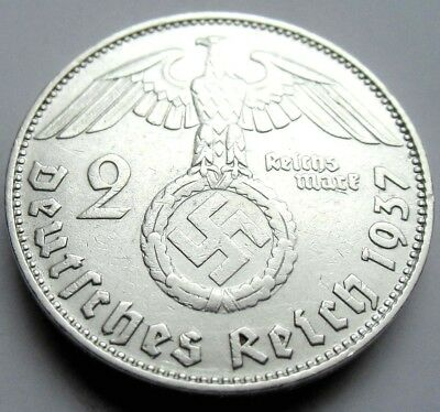 (796)WWII German 2 Mark  - 1937 D -  Silver -  Coin  BIG SWASTIKA