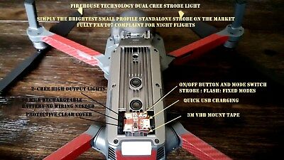 Firehouse Technology Red Strobe Light  Dji Inspire Phantom Mavic Spark Matrice