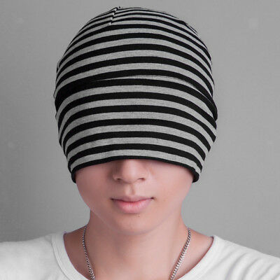 Unisex Adults Soft Cotton Night Hats Sleep Patch Head Cap Black Grey Stripe