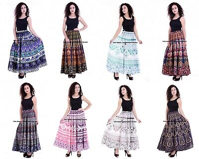 Indian Cotton Mandala Long Skirt Wrap Gypsy Wrap Around Belly Dancing Dress