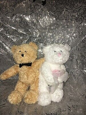 TY Beanie Baby BLISSFUL the Wedding Bears Lovers set of 2 6.5 inch Brown & White