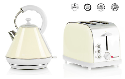 1.8L Electric Cordless Kettle & 2 Two Wide Slots Bread Toaster Set Cream