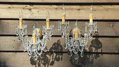 Gorgeous Pair of Opulent 3 arm Maria Theresa Wall Lights (1D)