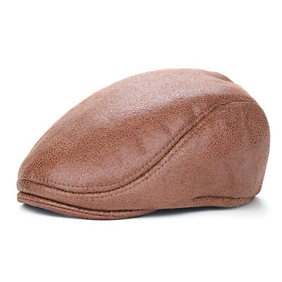 New Mens PU Leather Vintage Winter Warm Outdoor Painter Cap Autumn Beret Casual