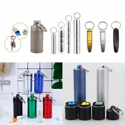 Waterproof Mini Aluminium Pill Box Case Bottle Holder Container Keychain Keyring