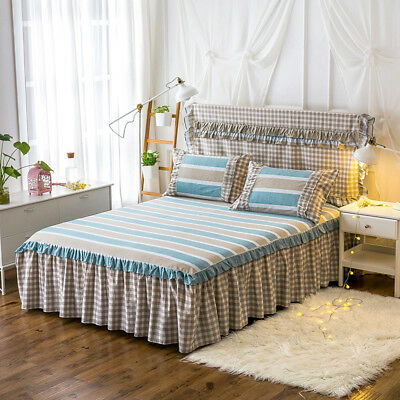 Striped Bed Skirt Pleated Bed Valance Queen King Size Checked Bedding Linen New