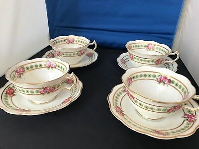 Four vintage & very beautiful teacups and saucers George Jones 'Crescent' China