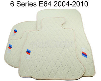 Floor Mats For BMW 6 Series E64 Beige Interior Leather  ///M Emblem Handmade NEW