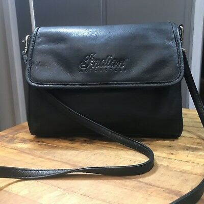 Indian Motorcycle Leather Handbag Black Vintage 1990s Flap Bag Pebbled Crossbody