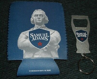 Samuel Sam Adams Beer Can Bottle Koozie + Bottle Opener Keychain
