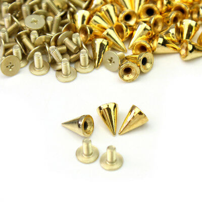 100Psc Spots Cone Screw Metal Studs Punk Leathercraft Rivet Bullet Spikes