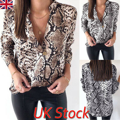 UK Womens Long Sleeve Autumn Snake Print Blouse V Neck Tops Ladies Casual Shirts