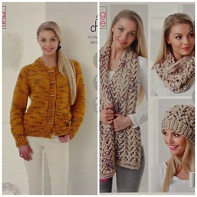 KNITTING PATTERN Ladies Easy Knit Jacket Hat Cowl Super Chunky King Cole 5279
