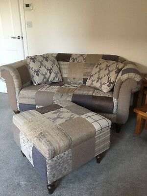 Two Seater Sofa And Footstool Used But In Good Condition Smoke And