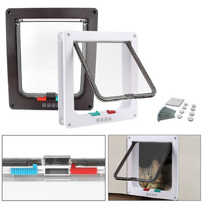 4 Way Large Medium Small Pet Cat Dog Lockable Door Flap Puppy Locking Safe Gate