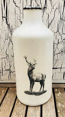 Stag Vase White and Grey Home , Gift .