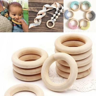 5Pcs Natural Health Wooden Baby Teether Ring Unfinished Wood Jewellery Craft