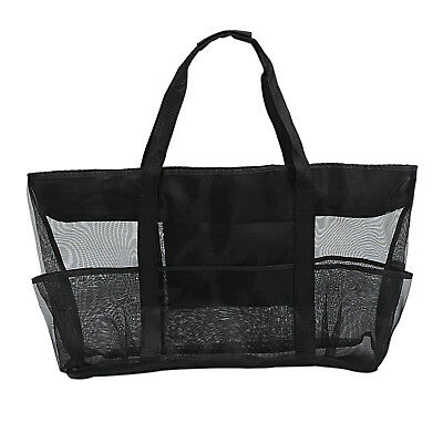XXL Mesh Beach Bag Family for Sand Toys, Extra Large Tote, Black L6N9