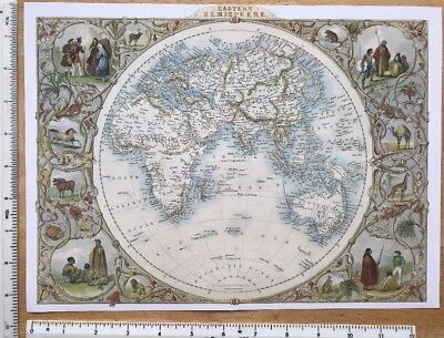 "Antique colour map 1800s: Eastern Hemisphere The World  Tallis 13"" X 9"" Reprint"