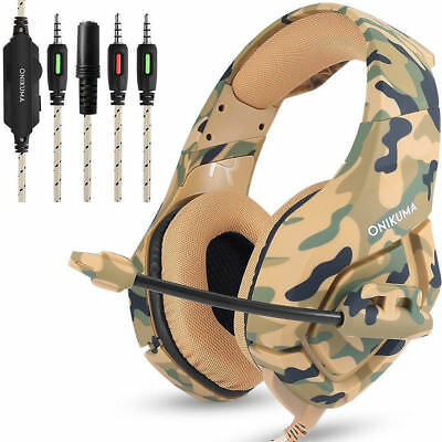US ONIKUMA K1 Stereo PC Gaming Headset for PS4 New Xbox One with Mic Camouflage